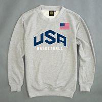 Men' s Pullover USA Dream Team Sweatshirt Solid Color Ca...