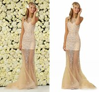 Sheer Skirt Long Prom Dresses Sexy Bateau Neck Major Beading...