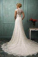 2016 платье Амелия Sposa Backless Кружева Свадебное платье Линия Молния Новый Arrivel V Вырезать Вырез Модные Люкс
