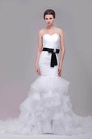 2016 Русалка Свадебные платья реальные фотографии Милая Pleats многоуровневого рябить органзы юбка с черным бисером пояса Gowns Люкс