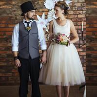 2016 Горячие продажи короткая линии козлового Weddding платья совок шеи пользовательских чай длины молнию обратно кружева бак рукава свадебного платья