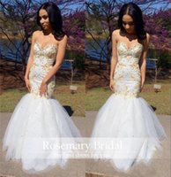 2016 White and Gold Embroidery Mermaid Prom Dressess Sweethe...