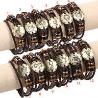 12 Constellation bracelet Infinity Leather Charm Bracelet Ne...