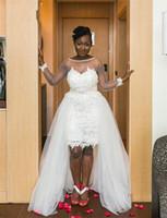2016 платье бальное платье белого тюля Африканский Опухший Свадьба с длинными рукавами Элегантный Кружева Съемные поезд Sexy Открыть Назад мантии невесты Люкс