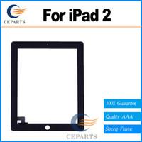 Remplacement de digitizer de verre à écran tactile + Ruban adhésif adhésif 3M avec bouton Home pour iPad 2 avec expédition rapide Blackwhite
