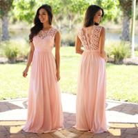 2017 Pink Chiffon Long Bridesmaid Dresses Lace Appliqued Bod...