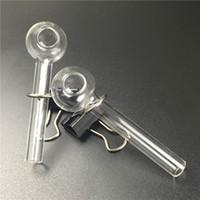 brûleurs à mazout verre d'eau de fumer tuyaux brûleur à mazout clair mini-pyrex de tuyau du brûleur du tube de verre épais pour fumer expédition rapide