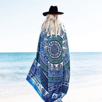 Summer Beach Shawl Indian Mandala Roundie Beach Throw Tapest...