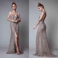 Berta Front Split Evening Dresses Rhinestones Sleeveless Plu...