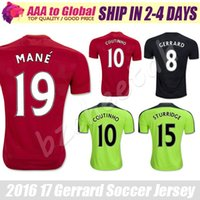 Gerrard chandails de football 2017 Accueil Away Football Chemises 19 Mane 2 Clyne 10 COUTINHO 21 Lucas 15 Sturridge chemises Green 3rd Football Jersey