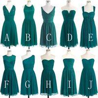 Simple Chiffon Teal Green Bridesmaid Dresses 2016 Short Conv...