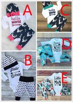 Baby Newborn Cotton Long Onesies Rompers + Pants + Caps Suit...