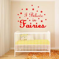 I Believe in Fairies Quote Vinyl Wall Art Decals DIY Stars W...