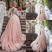 Western Country Garden длинными рукавами Свадебные платья Backless Глубокий V шеи шнурка Blush Тюль Часовня Поезд A-Line 2016 Плюс Размер Свадебные платья