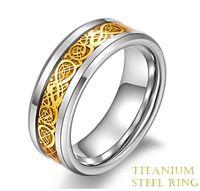 Titanium Steel Ring Stainless Steel Ring Dragon Piece Exquis...
