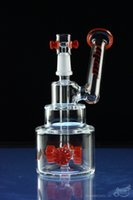 Hitman verre Bongs Brilliance gâteau tuyaux d'eau Rigs de pétrole avec couleur pneu perc 14 mm de joint mâle