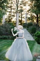 A line Wedding Dresses Cap Sleeve Ruffles Tulle Wedding Gown...