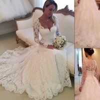 2016 Full Lace Wedding Dresses Long Sleeves Trumpet Style Ba...