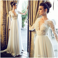 2017 Illusion Long Sleeves Lace Wedding Dresses 2016 Plungin...