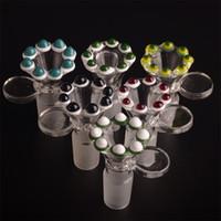 COULEUR BALL EDGE bols en verre avec manette ronde Honeycomb Screen 14.5mm joint mâle arceau d'herbe sèche T16