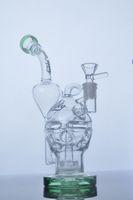 bongs en verre épais Fab Egg verre crâne la pipe pipe Double perc recycleur Showerhead avec 14,4 mm joint