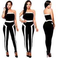 2016 Nova chegada Black Branco Romper Womens Sexy partido vestidos de festa peito envolto Slim Striped Jumpsuit Club desgaste Vintage Jumpsuit S9629