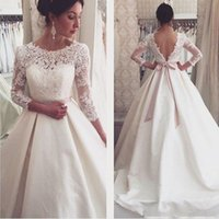 2017 Wedding Dresses A Line Lace Bridesmaid Gowns Long Sleev...