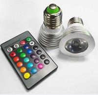 3W LED 16 colores que cambian los reflectores de 3W LED RGB llevaron la lámpara de la bombilla E27 GU10 E14 MR16 GU5.3 con 24 teledirigido dominante 85-265V 12V
