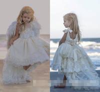 Симпатичные принцесса 2016 Привет-Low Pearls шнурка девушки цветка платье Kid партии Pageant Свадебные платья невесты выполненное на заказ