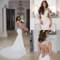 2017 Fishtail Wedding Dresses Sheer Neckline Illusion Back S...