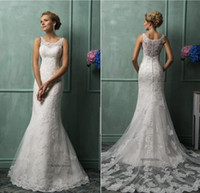 Amelia Sposa 2016 Mermaid Wedding Dresses Vintage Bateau Nec...