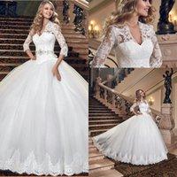 2016 Великолепная Плюс размер мантии шарика Princess Свадебное платье Три четверти рукава кружева халат-де-Mariage Платье де Noiva BO9553