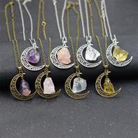 Mode sur la main en pierre naturelle lune argent collier déclaration main gros collier pendentif en cristal pour les femmes cadeau