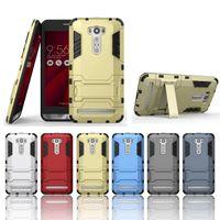 Полное Тело телефона Крышка для Asus Zenfone 2 Лазерный ZE601KL ZE550KL Hybrid Combo High Impact Прочный противоударный с Kickstand Броня Футляр