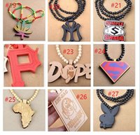 36 styles Hip hop Necklace Wooden Hand- drawn GOOD WOOD NYC B...