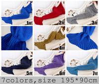 7color escolher Mulheres Mermaid Blanket cauda desenhos animados Super macio Mão Crocheted Sofá Blanket ar-condicionado cobertor siesta cobertor 195X90cm