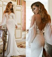 New Trends Long Sleeves Mermaid Wedding Dresses with Gold Be...