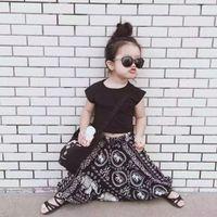 2016 latest product female baby short shirt + black t- shirt ...