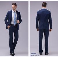 Gentleman Handsome Western Style Blue Groom Tuxedos Peak Lap...