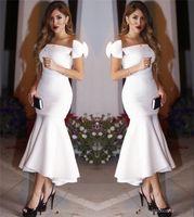2017 New Arrival Short Mermaid Prom Dresses Off Shoulder Whi...