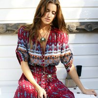 2016 Mulheres Outono Vintage V profundo profundo V Neck Boho Longo vestido Maxi Sexy Ladies Chiffon vestido Print Split Hippie vestido de alta qualidade hight