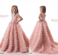 2017 New Pretty Blush Pink Flower Girls Dresses Ruched Tiere...