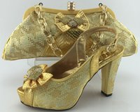 Cherry Lady New Arrival Gold Color African Shoes and Bags Ma...