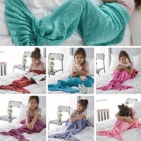 140 * 70см Дети Mermaid Одеяло крючком хвост русалки спальный мешок Knit Диван Одеяло воздуха состояние Одеяло Костюм Cocoon 7 Color PPA392