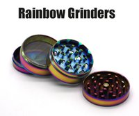 Nouveautés Fashion Ice Blue Color Herb Grinders 50mm Zinc Alloy Rainbow Grinders 4 Couches Metal Grinder Fit E Cigarettes VS Sharpstone Grinders