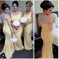 Светло-желтый Русалка платья невесты Sexy рукавов Jewel шеи вышитый бисером блестки качающейся платья Поезд Длинные Bridesmaids платья гостей свадьбы