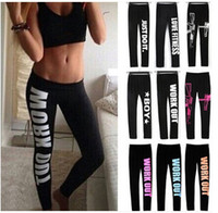 Hot Fashion Winter Confortable Femmes Workout Fit Pants Tight fitting Work Out Just Do it Print Leggings en coton en vrac One Size LN1011