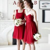 A, B Two Kinds Bridesmaid Dress mini chiffon off shoulder Swe...