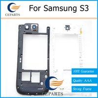 Genuine Lunette centrale pour Samsung Galaxy S3 i9300 Noir Blanc Cadre moyen Châssis pièces de rechange Pour samsung