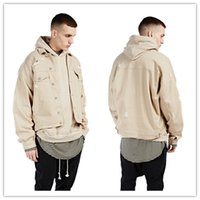 fashion Kanye west khaki denim ripped jeans jacket Hot mens ...
